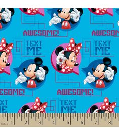Disney® Mickey and Minnie Text Me Cotton Fabric