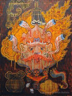 Offerings to Wrathful Deities Thangka Tibetan Art, Tibetan Buddhism, Buddhist Art, Artistic Visions, Acid Art, Thangka Painting, Traditional Paintings, Painting Process, Deities