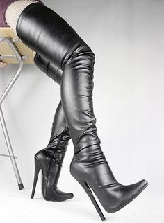 f78b1658b8fe1e Black matt pu Sexy fetish pointed toe stiletto long boots extreme high  heels large size over the knee thigh high boots BDSM CROTCH BOOT