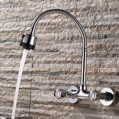 (122.53$)  Watch now - http://ai9c4.worlditems.win/all/product.php?id=32806947598 - JOOE kitchen faucet Wall Mounted Dual Holder Dual Hole Hot & cold mixer water tap chrome torneira cozinha parede griferia cocina
