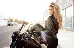 Marisa Miller with Black Leather Jacket on a black Harley-Davidson
