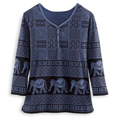Elephant Patchwork Top - Women's Clothing – Casual, Comfortable & Colorful Styles – Plus Sizes