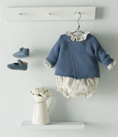 Baby girl white top with dusty blue cardigan and shoes. Baby Kind, My Baby Girl, Baby Love, Little Girl Fashion, Fashion Kids, Toddler Fashion, Style Baby, Girl Style, Kid Styles