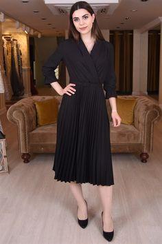 496ac937f1fc5 Kruvaze Yaka Piliseli Elbise - SpringStore Ürün Adı: Kruvaze Yaka Piliseli  Elbise Kumaş Türü: