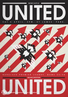 Match poster. Newcastle United vs Manchester United, 5 April 2014. Designed by @manutd.
