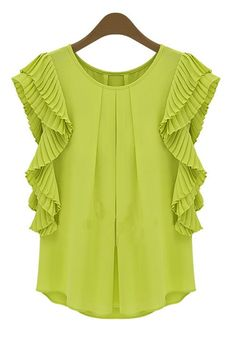 Street Style Scoop Neck Double-Layered Irregular Bottom Short Sleeves Chiffon Blouse For Women Chiffon Ruffle, Chiffon Shirt, Chiffon Tops, Ruffle Sleeve, Petal Sleeve, Ruffle Blouse, Flutter Sleeve, Ruffle Top, Floral Blouse