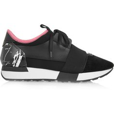 Balenciaga Leather, suede and neoprene sneakers (43.015 RUB) ❤ liked on Polyvore featuring shoes, sneakers, black, black hidden wedge sneakers, suede sneakers, balenciaga sneakers, balenciaga trainers and lace up shoes