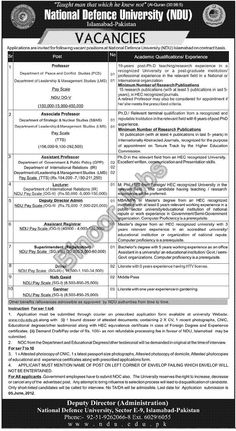 Faculty Required in National Defence University Islamabad