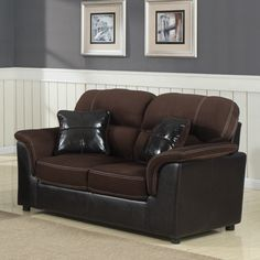 @Overstock - Contemporary lines are softened with the gently sloped armrests of the Alcester Collection. Chocolate microfiber provides a delicate touch while baseball stitching defines the seats.   http://www.overstock.com/Home-Garden/Alcester-Microfiber-Vinyl-Loveseat/7252363/product.html?CID=214117 $449.99
