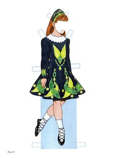 """Deirdre, the Irish Dancer:  Little Dancers Paper Dolls"" by Tom Tierney; Dover Publications Inc., 2002 (Plate ? of 54). This doll/outfits were previously published as ""Irish Dancer Paper Doll,"" 1999."
