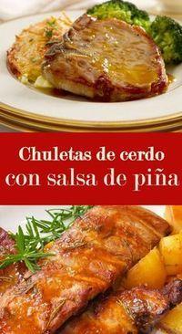 Esta receta de chuletas de cerdo con salsa de piña es fácil y rápida de hacer. Tiene un sabor agridulce y a los niños les encanta.