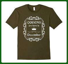 Mens Queens Are Born In December: Birth Month Birthday T-Shirt 2XL Olive - Birthday shirts (*Amazon Partner-Link)