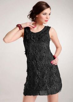 Women Classic Black Tank Dress with Hollow Lace Decoration | Rosewe.com