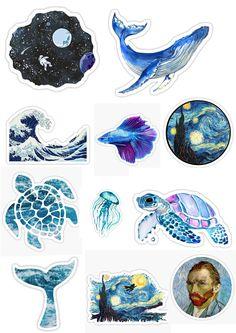 blue, stickers, blue stickers, adesivos, colantes, imprimir, oceano, céu, van gogh, adesivos mar, oceano, DIY, bullet journal Stickers Kawaii, Meme Stickers, Tumblr Stickers, Phone Stickers, Journal Stickers, Cool Stickers, Printable Stickers, Planner Stickers, Homemade Stickers