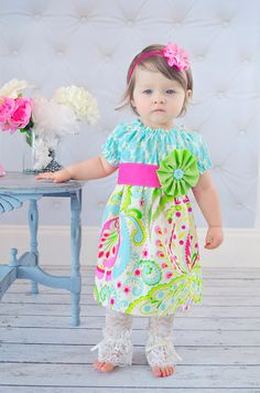 Spring Bloom Peasant Dress 3M-5T Easter, Birthday, Special Occasion, Party, Photography, Flower girl, Tropical. $41.00, via Etsy.