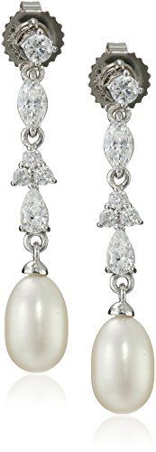Sterling Silver 7-7.5mm White Oval Freshwater Cultured Pearl and pear shaped CZ drop earrings. available at joyfulcrown.com