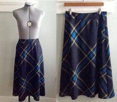 Nautical Blue and Yellow Plaid Skirt