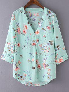 Shop Multicolor V Neck Floral Print Chiffon Blouse online. SheIn offers Multicolor V Neck Floral Print Chiffon Blouse & more to fit your fashionable needs.