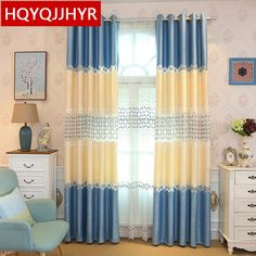 European luxury bedroom floor curtains classic blue embroidered stitching upscale bedroom living room kitchen curtains
