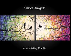 Large Abstract Bird Tree Painting Contemporary Modern Silhouette Colorful Two Canvas Diptych 18x48 JMichael