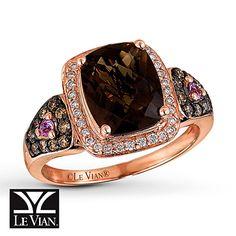 really liking chocolate quartz  Le Vian Chocolate Quartz 1/3 ct tw Diamonds 14K Gold Ring