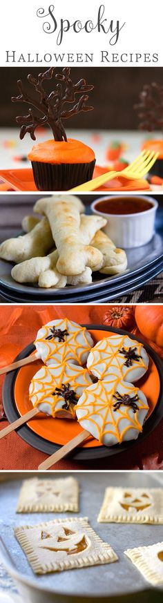All Hallows Eve is just around the corner! Weve rounded up our favorite appetizer, dinner, and dessert recipes to celebrate our favorite spooky holiday. Adults and kids will love these not-so-scary treats. Read on for our favorite Halloween food. Theme Halloween, Halloween Goodies, Halloween Food For Party, Halloween Desserts, Halloween Treats, Preschool Halloween, Halloween Chocolate, Healthy Halloween, Halloween Cakes