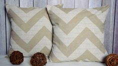 Chevron Pillows, 20x20 Pillow Covers. Beige Pillows. Natural Pillows. Home Decor on Etsy, $36.00