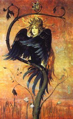 Gamyun (the prophetic bird), Viktor Vasnetsov (1897)
