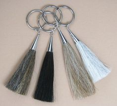 beautiful-horses.com - Key chain hair tassels, with sterling silver cone on top and one inch split key ring.
