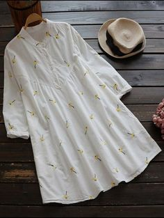 Cotton And Linen Smock Dress - White