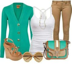 Perfect fall outfit.  Brown pants,  turquoise sweater,  matching purse.  Loves it!