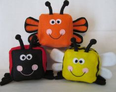 Toy Sewing Pattern - Insect collection - Make your own bumblebee, ladybug & butterfly felt blocks - Felt Cubes/Blocks Plushie Sewing Pattern