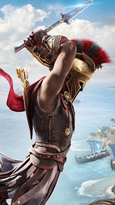 Assassin's Creed Odyssey Free Ultra HD Mobile Wallpaper Arte Assassins Creed, Assassins Creed Odyssey, Greek Warrior, Fantasy Warrior, Assassin's Creed Wallpaper, Spartan Tattoo, Spartan Warrior, Spartan 300, Mythology Tattoos