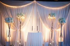 When modern meets traditional at the ever-wonderful Fulton's On The River , this, my friends, is exactly what happens. A drop-dead gorgeous love fest featuring a sophisticated color palette (hello . Wedding Draping, Wedding Stage, Mod Wedding, Wedding Reception, Wedding Backdrops, Wedding Ceremonies, Dream Wedding, Backdrop Decorations, Ceremony Decorations