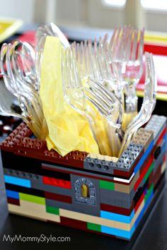 Lego+Party,+utensil+holder,+lego+utensil+holder