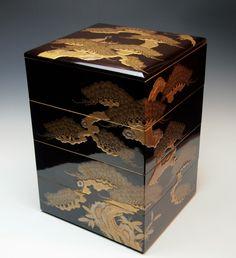 EXQUISITE ANTIQUE JAPANESE LACQUERED WOOD JUBAKO Edo Taka-Makie Stacking Boxes 2800.