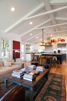 big open kitchen/living space and exposed beams