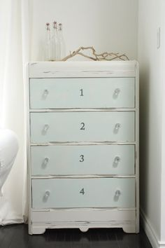 drawers painted a different color- seaside dresser