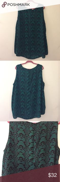 Emerald Printed Sleeveless Top Emerald, Black, And Grey Patterned Sleeveless Top. Have a slightly longer back for a slight high-low look. Never worn!!! Fabric is light and perfect for layering! Fabric is also 100% polyester. Sejour Tops