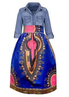 70355ce394750 Naya African Print Dashiki Midi Skirt with Sash (Blue Pink) African Print  Clothing