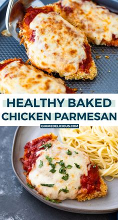 Healthy oven baked chicken parmesan is crispy on the outside and tender on the inside with no frying required. This easy method makes the most FLAVORFUL chicken parmesan in under 30 minutes! Oven Baked Chicken Parmesan, Baked Chicken Recipes, Chicken Parmesan Recipe Without Bread Crumbs, Keto Chicken, Bake Chicken In Oven, Healthy Breaded Chicken, Chicken Parmesian, Healthy Recipes With Chicken, Oven Baked Chicken Tenders