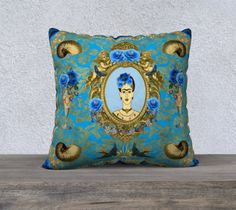 Frida Kahlo with Blue Birds, Shells and Blue Flowers Velveteen Large Cushion Cover sold by Jantulov Designs. Shop more products from Jantulov Designs on Storenvy, the home of independent small businesses all over the world.