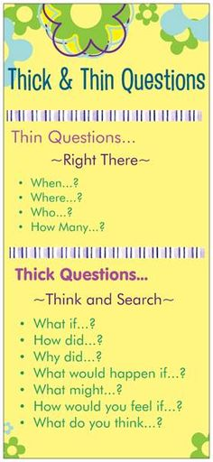 Thick & Thin questions: great strategy for teaching students that have difficulty with answering questions! Thick & Thin questions: great strategy for teaching students that have difficulty with answering questions! Comprehension Strategies, Teaching Strategies, Teaching Tips, Teaching Reading, Reading Comprehension, Visual Thinking Strategies, Thinking Skills, Critical Thinking, Coaching Personal