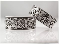 Custom wedding bands with hand engraving by www.RingFingerStudio.com