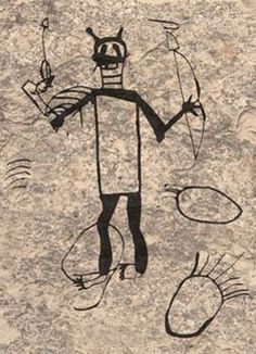 Antennae Warrior with bow and arrow from Pictograph Cave, courtesy Montana Fish, Wildlife and Parks and MSU COT