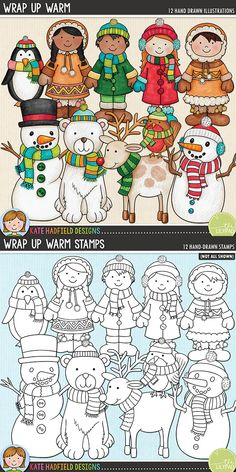 Wrap Up Warm - Winter kids digital scrapbook elements / cute winter characters clip art! (Clipart and line art bundle). Hand-drawn illustrations for digital scrapbooking, crafting and teaching resources from Kate Hadfield Designs. Winter Clipart, Wedding Scrapbook, Anniversary Scrapbook, Birthday Scrapbook, Christmas Drawing, Scrapbook Templates, Digital Scrapbooking Layouts, Printable Crafts, Winter Kids