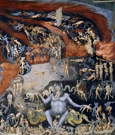 Giotto di Bondone, Giudizio universal - Inferno (The Last Judgement - Hell), circa 1306.The Scrovegni Chapel, Padua, Veneto, Italy.