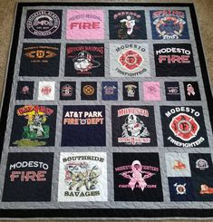Tshirt quilt - Jersey tshirt quilts made from 9 to 49 tees Memory T shirt quilts Custom tshirts quilt Deposit only! The prices are below quilt photo – Tshirt quilt Jersey Quilt, Quilting Projects, Quilting Designs, Sewing Projects, Quilting Ideas, Sewing Tips, Sewing Crafts, Truck Fire, T-shirt Quilts