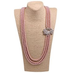 Wild Wind (TM) Couple Diamond Swan Multi Pearl Strands Necklaces ** Learn more by visiting the image link.