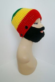 "Detachable Beard Hats $25 -- LIKE MY PAGE >  www.facebook.com/tzigns -- SHOP > www.tzigns.etsy.com Coupon code ""Pin10"" saves you 10%! #christmas #gift #giftguide #giftsforher #crochet #etsy #yarn"